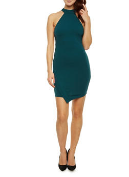 Sleeveless Knit Dress with Halter Neck - 1410069391130