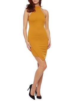 Sleeveless Knit Dress with Halter Neck - MUSTARD - 1410069391130