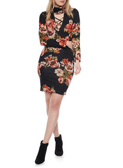 Lace Up Midi Dress with Mock Neck and Floral Print - 1410069391135