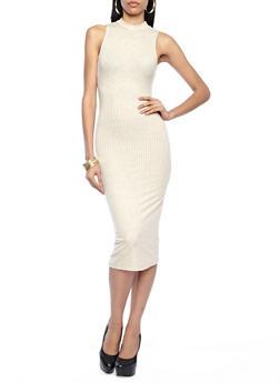 Sleeveless Mock Neck Ribbed Midi Dress,OATMEAL,medium