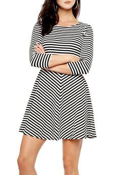 Three Quarter Sleeve Textured Skater Dress With Stripes,BLACK/WHITE,medium