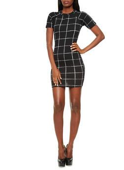 Textured Knit Bodycon Mini Dress with Square Print,BLACK/WHITE,medium