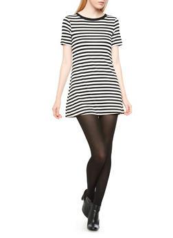 Basic Striped T-Shirt Dress With Subtle Flare,BLACK/WHITE,medium