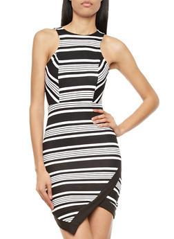 Sleeveless Textured Dress With Stripes and Asymmetrical Hem,BLACK/WHITE,medium