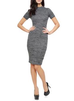 Short Sleeve Mock Neck Marled Knit Midi Dress with Back Cutout,BLACK,medium