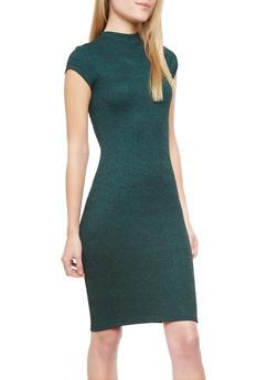 Cutout Rib-Knit Mock Turtleneck Midi Bodycon Dress With Cap Sleeves,GREEN,medium