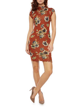 Soft Knit Floral Bodycon Dress with Back Keyhole - 1410069392178