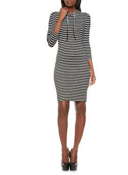 Hooded Striped T-Shirt Dress With Kangaroo Pocket,BLACK/WHITE,medium