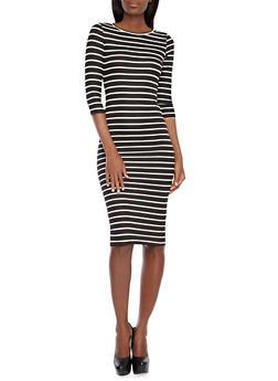 Striped Bodycon Midi Dress with Three Quarter Length Sleeves,BLACK/WHITE,medium