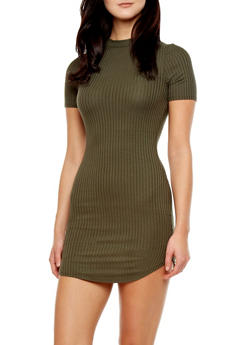 Short Sleeve Bodycon Midi Shirt Dress With Rib-Stitch Panels,OLIVE,medium