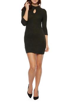 Ribbed Mockneck midi Dress With Keyhole Cutout - OLIVE - 1410069392514