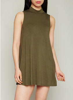Solid Sleeveless Mock Neck Shift Dress - OLIVE - 1410069392569