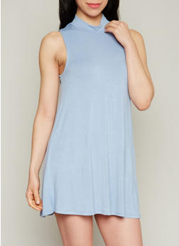 Solid Sleeveless Mock Neck Shift Dress - 1410069392569