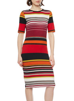 Multi Color Stripe Crepe Bodycon Dress - 1410069392576