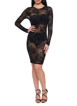 Sheer Floral Mesh Long Sleeve Midi Dress - BLACK - 1410069392611
