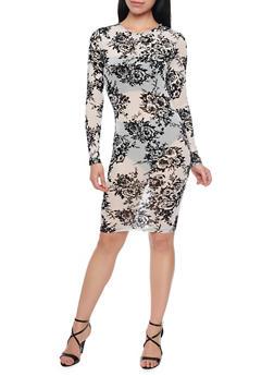 Sheer Floral Mesh Long Sleeve Midi Dress - 1410069392611