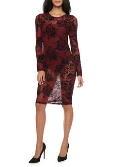 Sheer Floral Mesh Long Sleeve Midi Dress - 1410069392611