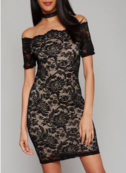 Floral Lace Off the Shoulder Dress - 1410069392626