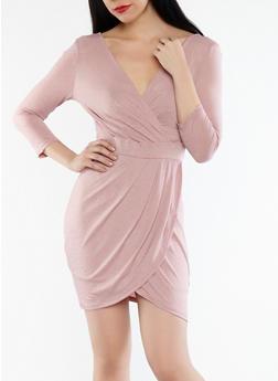 Faux Wrap Bodycon Dress - 1410069392670