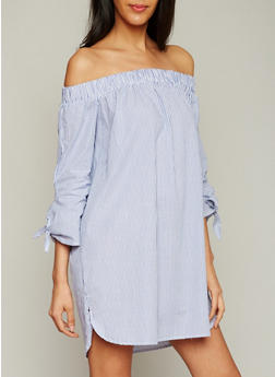 Striped Off the Shoulder Dress with Tie Sleeves - 1410069392682