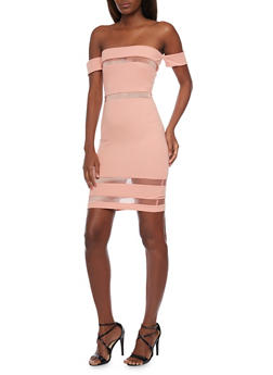 Off The Shoulder Shadow Stripe Bodycon Dress - 1410069392687