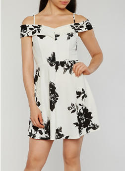 Floral Off the Shoulder Skater Dress - 1410069392721