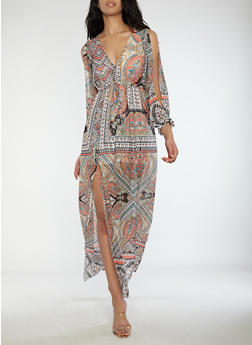 Printed Slit Sleeve Maxi Dress - 1410069392740