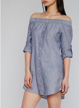Off The Shoulder Button Front Chambray Dress with Tab Sleeve - 1410069392797