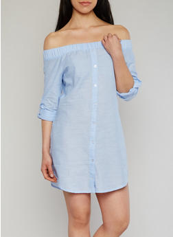 Off The Shoulder Button Front Chambray Dress with Tab Sleeve - LT BLUE - 1410069392797