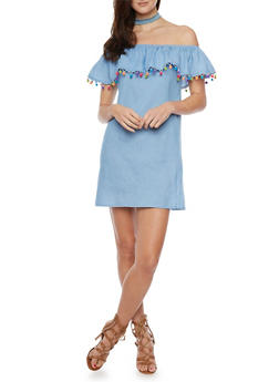 Mini Chambray  Off the Shoulder Dress with Pom Pom Detail - 1410069392801