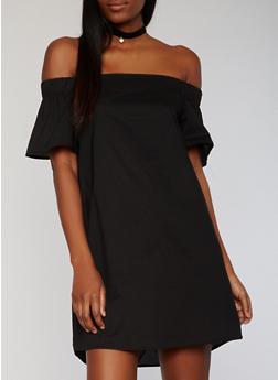 Solid Off the Shoulder Shift Dress - BLACK - 1410069392815