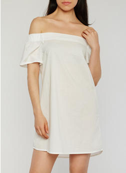 Solid Off the Shoulder Shift Dress - WHITE - 1410069392815