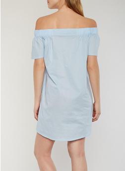 Solid Off the Shoulder Shift Dress - 1410069392815