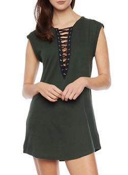Sleeveless Plunging Lace Up V Neck Mini Dress - HUNTER - 1410069392829