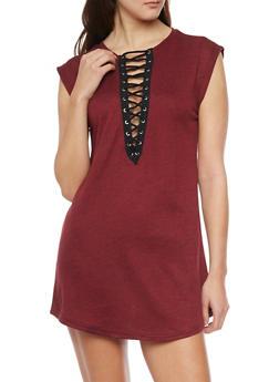 Sleeveless Plunging Lace Up V Neck Mini Dress - WINE - 1410069392829