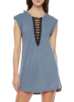 Sleeveless Plunging Lace Up V Neck Mini Dress - 1410069392829