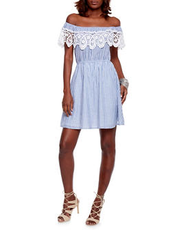 Off the Shoulder Striped Dress with Crochet Trim - 1410069392841