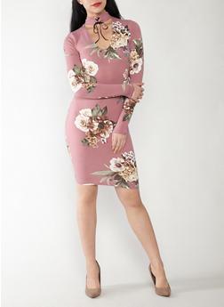 Soft Knit Floral Choker Neck Dress - 1410069392928