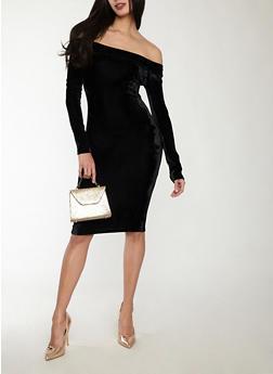 Velvet Off the Shoulder Dress - 1410069392965