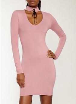 Lace Up Choker Neck Soft Knit Dress - 1410069392987