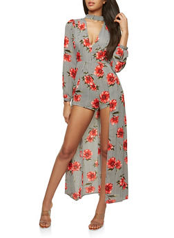 Printed Open Back Romper with Maxi Skirt Overlay - 1410069393019