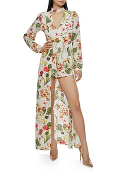 Printed Open Back Romper with Maxi Skirt Overlay - IVORY - 1410069393019