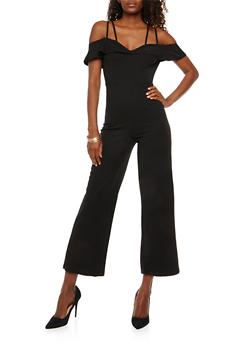 Crepe Knit Off the Shoulder Jumpsuit - 1410069393144