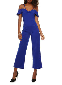 Crepe Knit Off the Shoulder Jumpsuit - 1410069393144