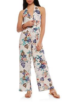 Floral Faux Wrap Halter Jumpsuit - 1410069393163