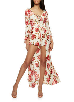 Floral Lace Up Romper with Maxi Skirt Overlay - 1410069393178