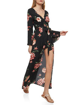 Floral Romper with Maxi Skirt Overlay - 1410069393201
