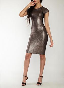 Metallic Snake Skin Mesh Insert Bodycon Dress - 1410069393314