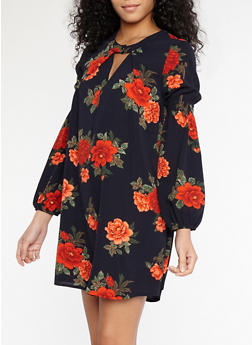 Floral Crepe Knit Bell Sleeve Dress - 1410069393321