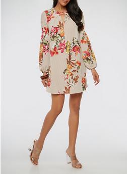 Striped Floral Keyhole Shift Dress - 1410069393331